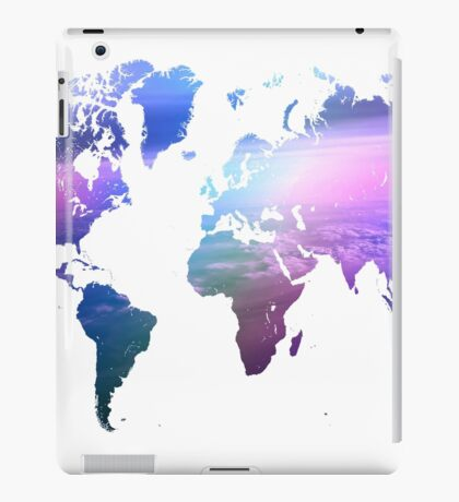 Rainbow World Map. Blue Purple iPad Case/Skin
