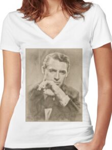 Cary Grant, Vintage Hollywood Actor Women's Fitted V-Neck T-Shirt