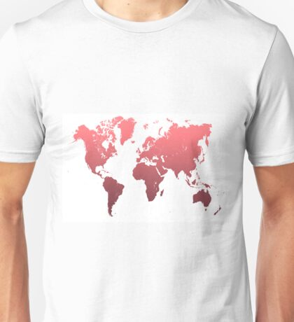 World Map Abstract. Pink Unisex T-Shirt