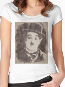 Charlie Chaplin, Vintage Hollywood Legend Women's Fitted Scoop T-Shirt