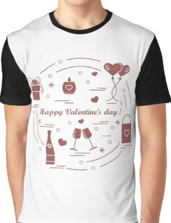 Cute vector illustration: gifts, balloons, stemware, candle, bag, bottle with hearts and snowflakes arranged in a circle. Graphic T-Shirt