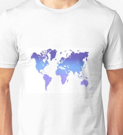 World Map Abstract. Blue Purple Unisex T-Shirt