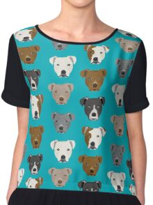 Pitbull faces dog art dog pattern pitbulls cute gifts for rescue dog owners by PetFriendly Chiffon Top