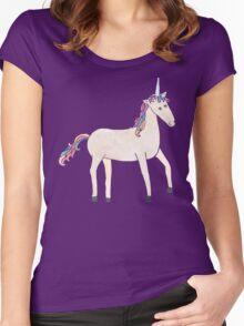 Unicorn Pattern on Pastel Purple Women's Fitted Scoop T-Shirt