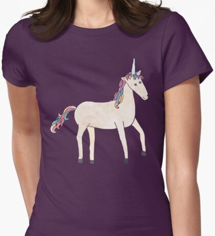 Unicorn Pattern on Pastel Purple Womens Fitted T-Shirt