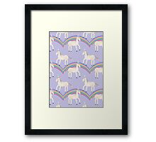 Unicorn Pattern on Pastel Purple Framed Print