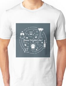Cute vector illustration: gifts, balloons, stemware, keys, gender symbols, bottle with hearts and snowflakes arranged in a circle. Unisex T-Shirt