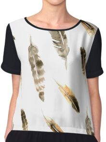Watercolor grey feather pattern  Chiffon Top