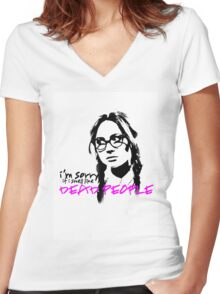 Sorry If I Smell like Dead people - Eliza Women's Fitted V-Neck T-Shirt