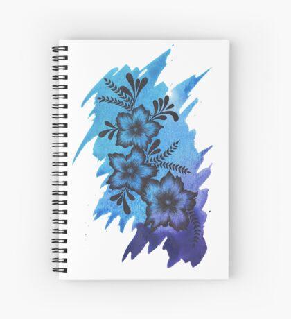 Blue Watercolour Flower Design  Spiral Notebook