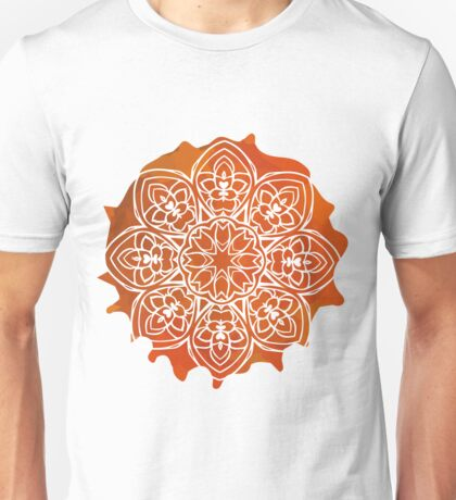 Watercolor Orange Mandala Pattern Unisex T-Shirt