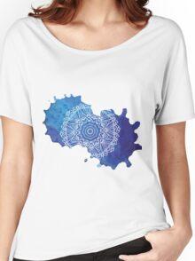 Watercolour Blue Mandala Pattern Women's Relaxed Fit T-Shirt