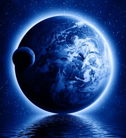 Earth and Moon Fantasy Sticker