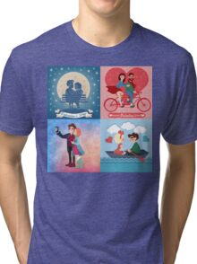 Valentine's Day Cards Set with Young Happy Couple Tri-blend T-Shirt