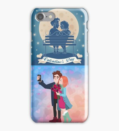 Valentine's Day Cards Set with Young Happy Couple iPhone Case/Skin
