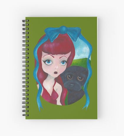 Big Eye Dolly Girl and Dog Painting Spiral Notebook