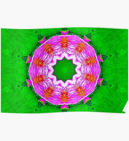 Psychedelic Pink & Green Mandala Poster