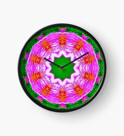 Psychedelic Pink & Green Mandala Clock