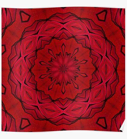 Psychedelic Black & Red Mandala Poster
