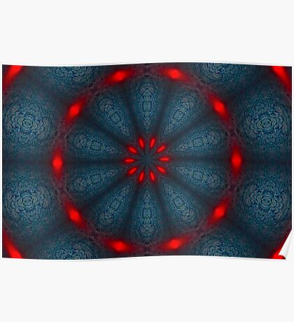 Psychedelic Blue & Red Mandala Poster