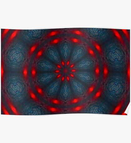 Psychedelic Red, Black & Blue Mandala Poster