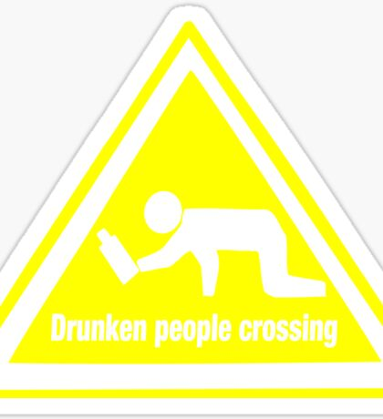 Drunken People Crossing Funny Drinking  Sticker