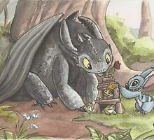 Toothless and Stitch Build a Froghouse by AmberStone