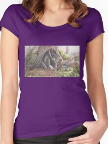 Toothless and Stitch Build a Froghouse Women's Fitted Scoop T-Shirt