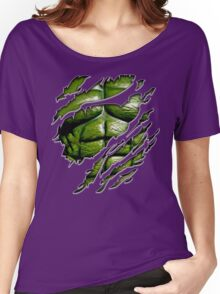 Green muscle chest in purple ripped torn tee Women's Relaxed Fit T-Shirt