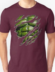 Green muscle chest in purple ripped torn tee T-Shirt