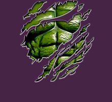 Green muscle chest in purple ripped torn tee Unisex T-Shirt