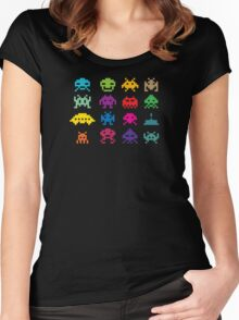 Space Invaders Game Women's Fitted Scoop T-Shirt