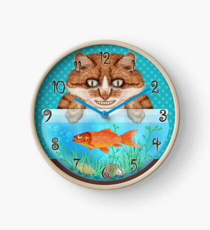 Cat with Goldfish Bowl Funny Hungry Grinning Kitty Clock