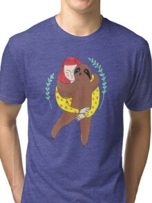 Girl and her sloth friend Tri-blend T-Shirt