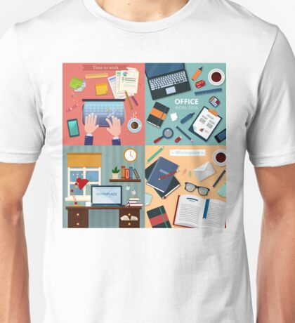 Time to Work. Modern Workplaces at Office and Home with Laptop and Office Accessories Unisex T-Shirt