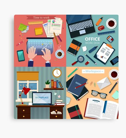 Time to Work. Modern Workplaces at Office and Home with Laptop and Office Accessories Canvas Print