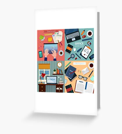 Time to Work. Modern Workplaces at Office and Home with Laptop and Office Accessories Greeting Card