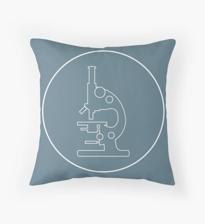 Stylized vector icon of microscope. Laboratory equipment symbol.  Throw Pillow