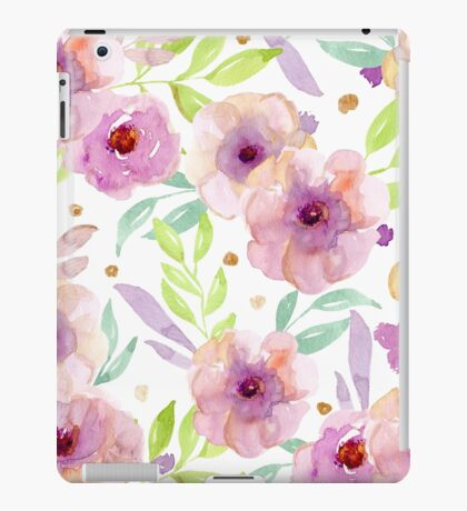 Watercolor pink flowers iPad Case/Skin