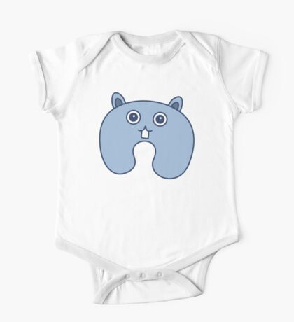 Cute Blue Fluffy Bunny Pattern One Piece - Short Sleeve