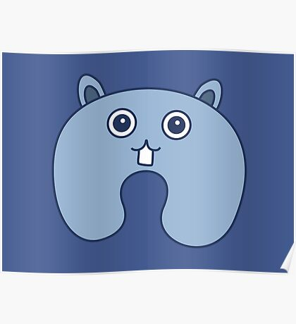 Cute Blue Fluffy Bunny Pattern Poster