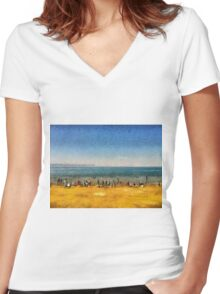 People at the beach Women's Fitted V-Neck T-Shirt