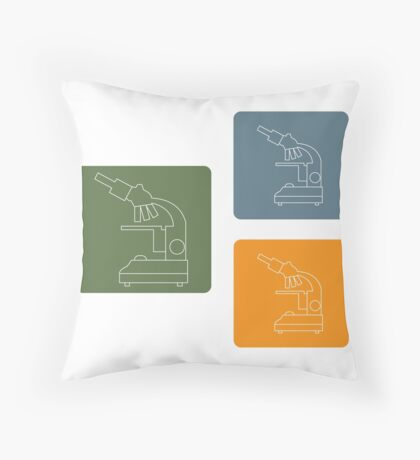 Stylized vector icons of microscope in different colors. Laboratory equipment symbol.  Throw Pillow