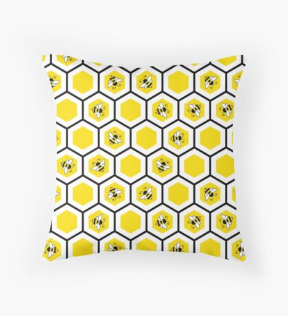 Honeycomb and bee pattern Throw Pillow