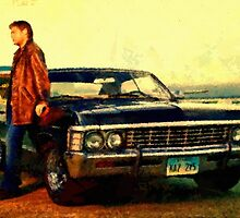 supernatural tv dean baby impala fan art by druidwolfart