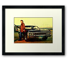 supernatural tv dean baby impala fan art Framed Print