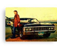 supernatural tv dean baby impala fan art Canvas Print
