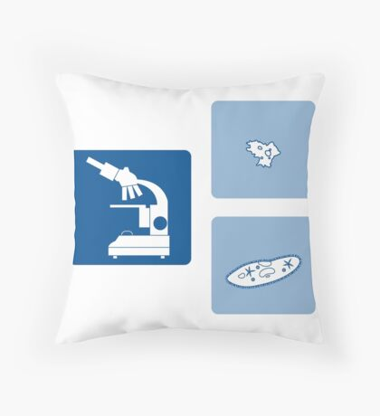 Stylized icons of microscope, amoeba, ciliate-slipper. Laboratory equipment symbol.  Throw Pillow