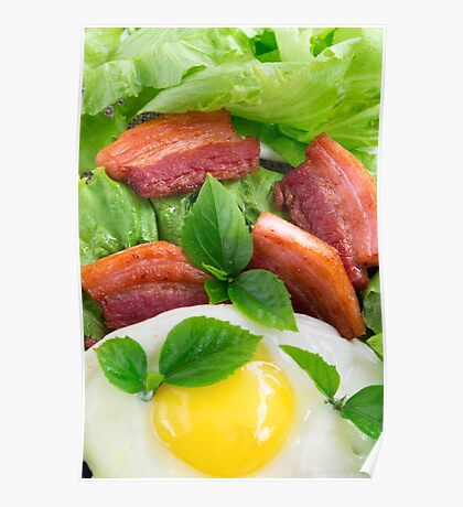 Top view on egg yolk, fried bacon and herbs Poster