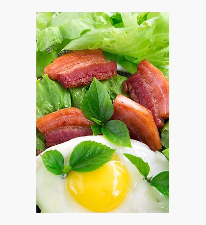 Top view on egg yolk, fried bacon and herbs Photographic Print